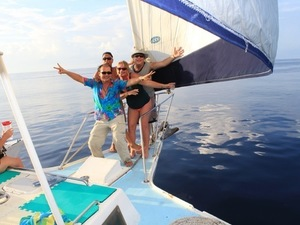 Cozumel Private Catamaran Sunset Sail and Snorkel Cruise